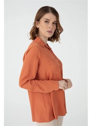 Desen Triko Gömlek Oranj